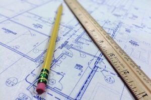 lapiz, regla, plano, diseño
