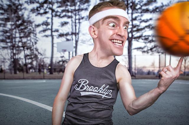 jugador, baloncesto, caricatura